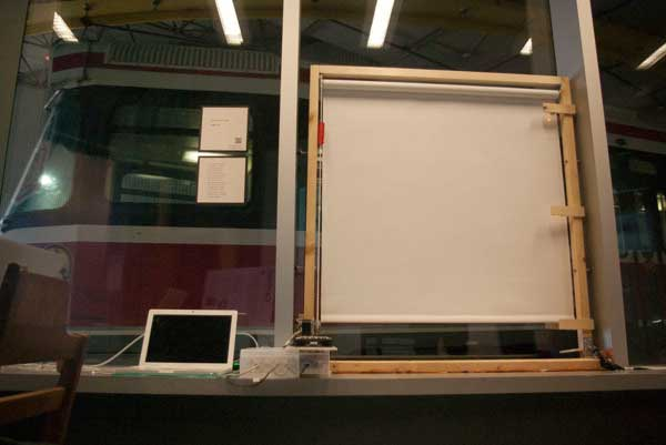 installation of blind animated by arduino board and stepper motor at OCAD University