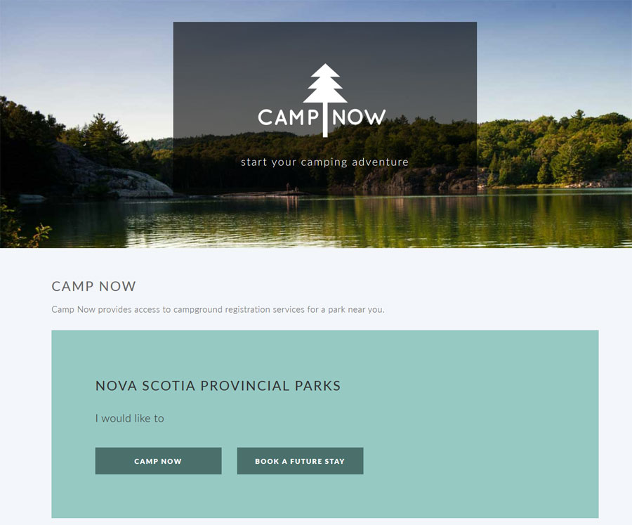 Responsive website portal for camping reservations. Camp Now provides access to campground registration services for a park near you. Desktop