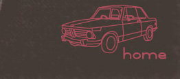 """an outline of a car with word """"home"""""""