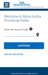 a final mock of the park's online registration home screen