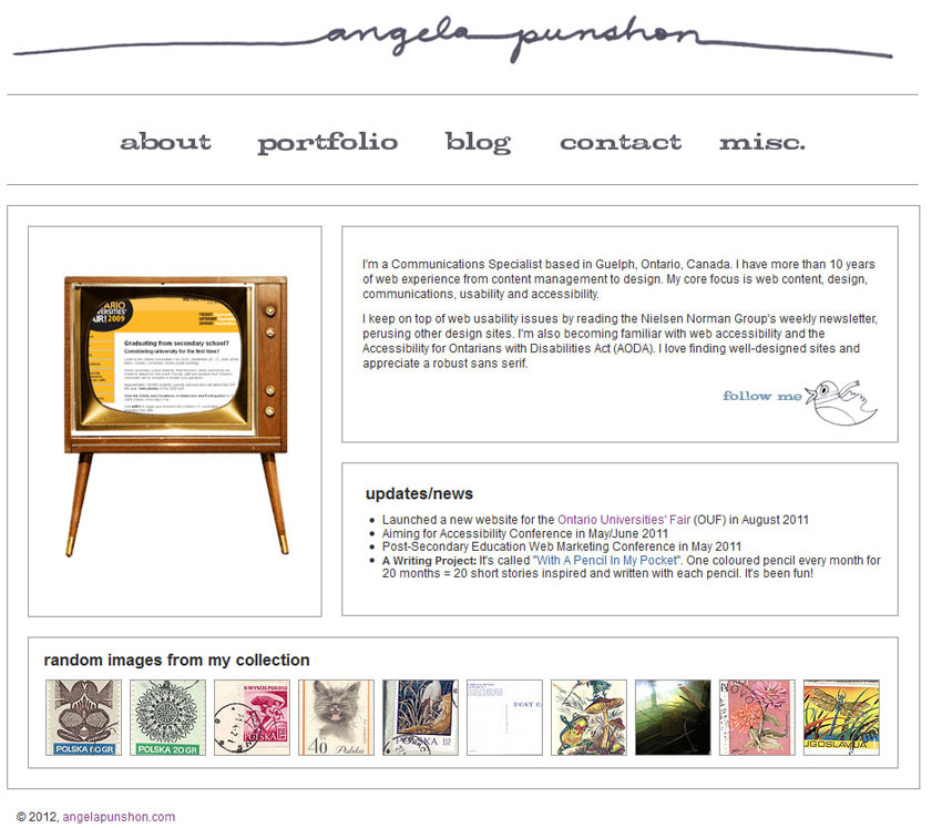 Personal website home page (2010)