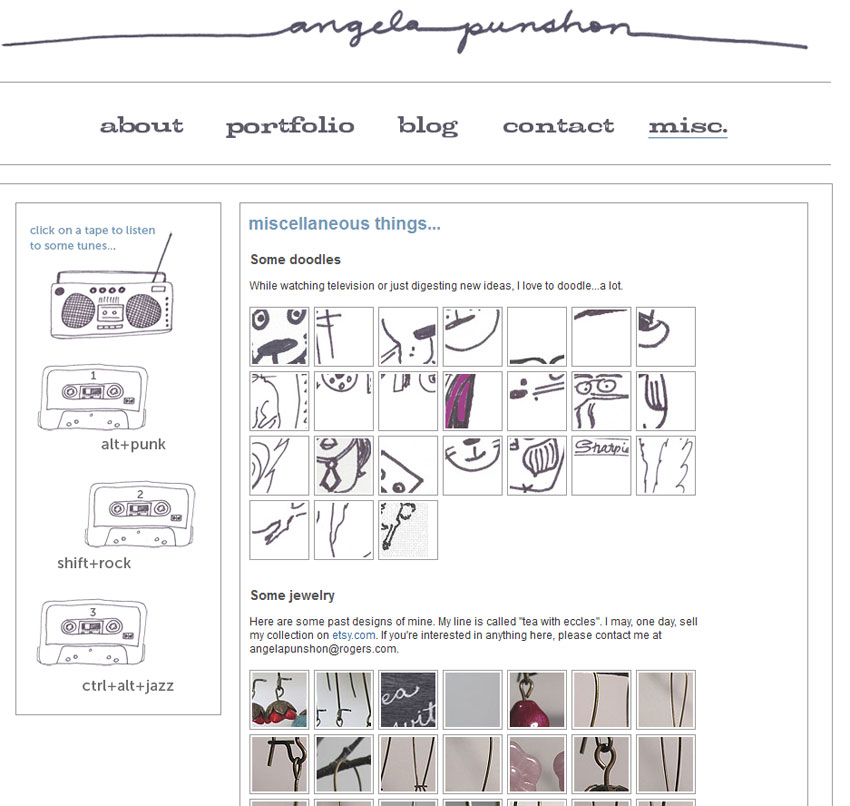 Personal website misc. page (2010)