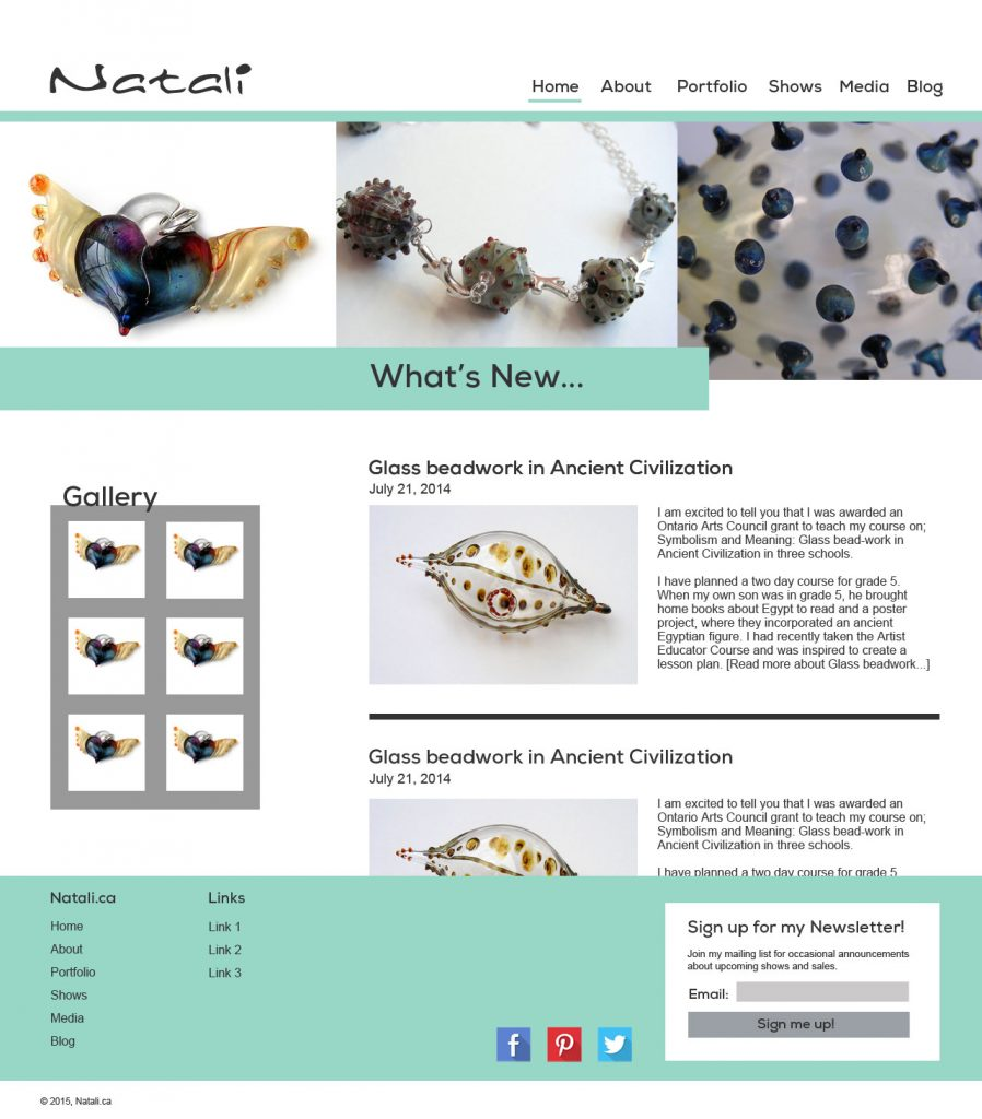home page for Natali Baird, displaying images of her glass works