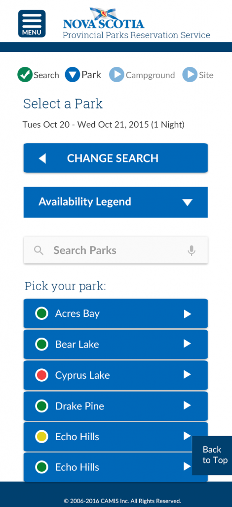 screen listing the parks that have availability