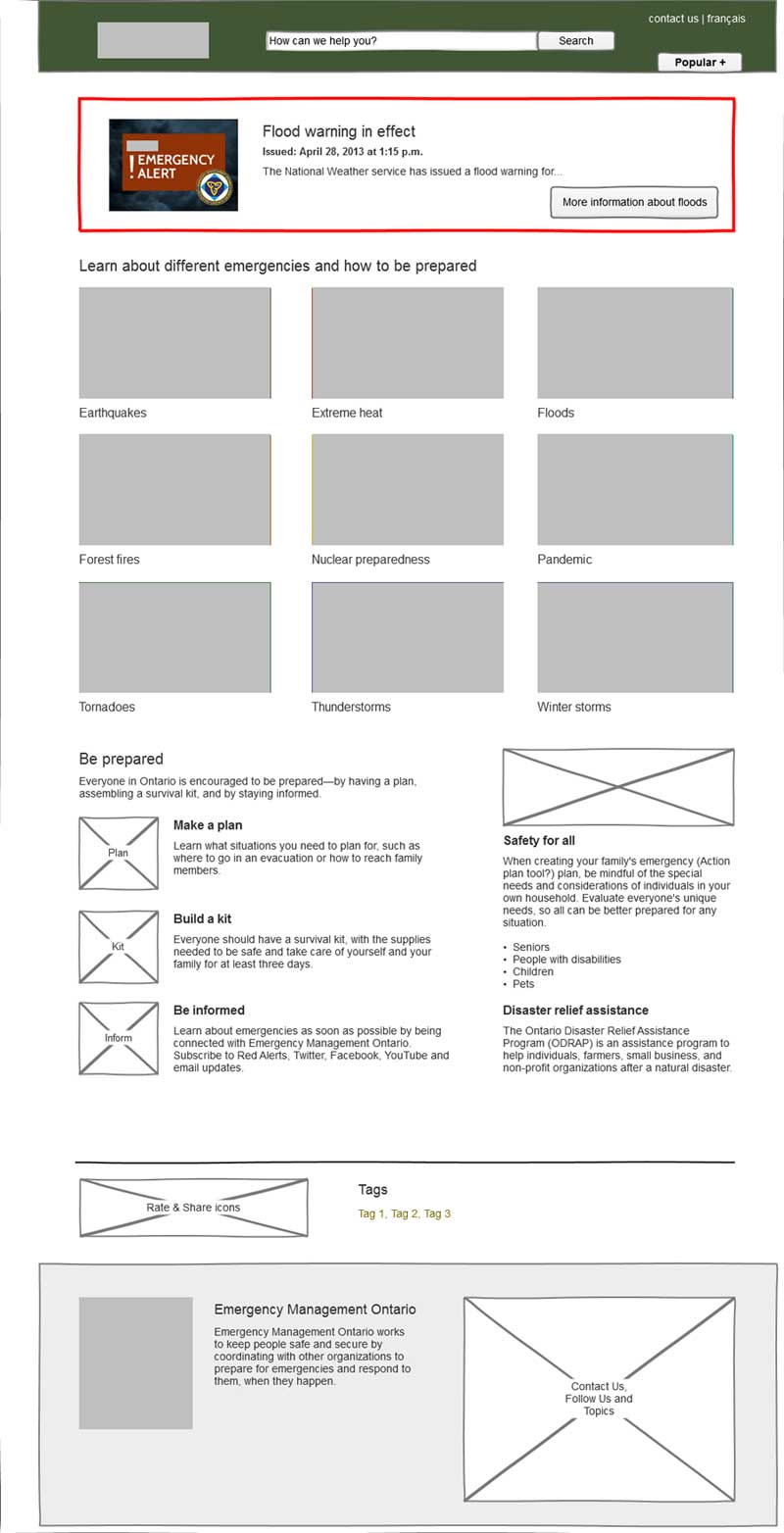Wireframe for the Emergency Information landing page
