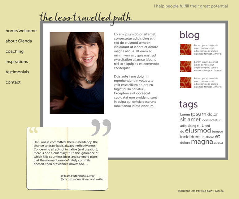 """Business website 2 (2009): The Less Travelled Path"""""""