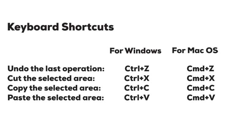 """Quick tips card presented to participants after health website usability testing. Shows the keyboard shortcuts for Windows and Mac, such as undo """"ctrl+z"""" & """"cmd+z"""""""