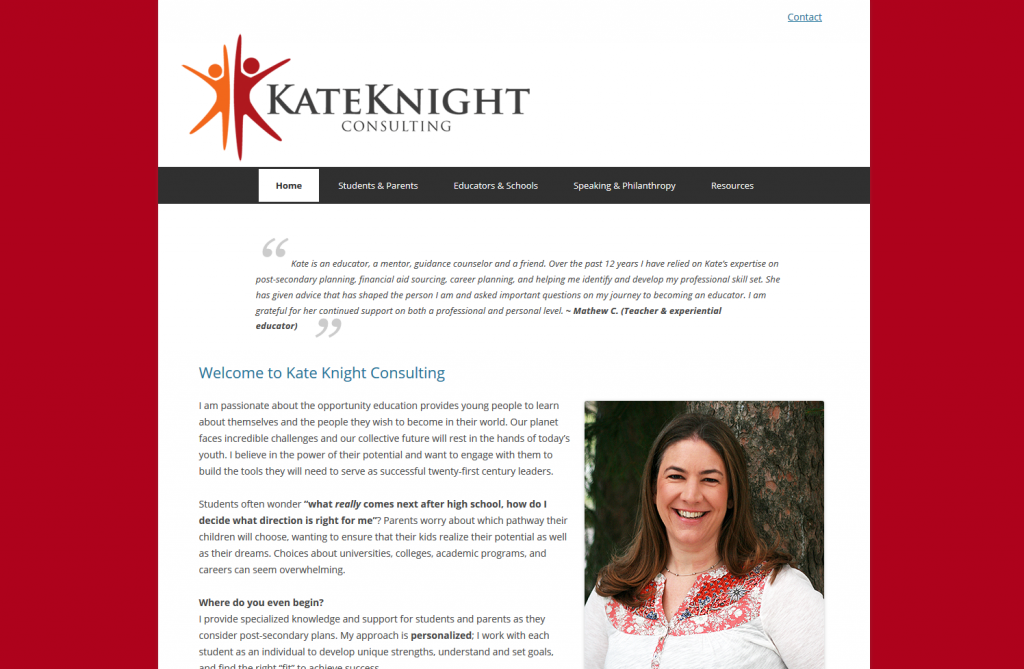Home page for Kate Knight's website