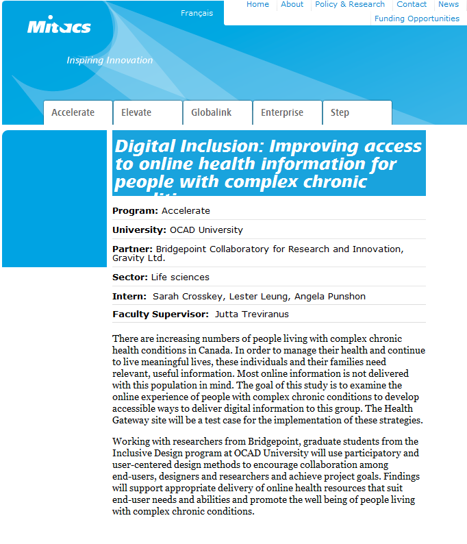 Research project: Digital Inclusion: Improving access to online health information for people with complex chronic conditions